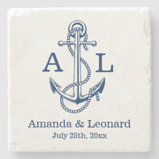 Nautical Wedding coaster personalized | favour Stone Beverage Coaster