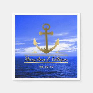 Nautical Wedding Gold Anchor Monogram Ocean Sky Napkin