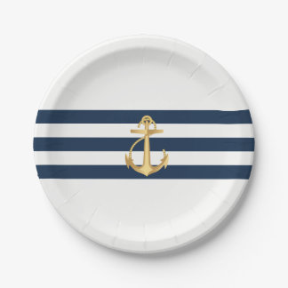 Nautical Wedding Gold Anchor Navy Stripes Paper Plate