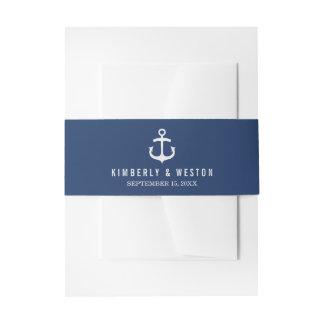 Nautical Wedding Invitation Belly Band / Navy