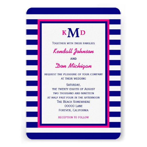 Nautical Wedding Invitation  Navy and Pink