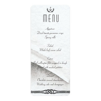 Nautical Wedding Menu Gray And White Card