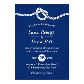 Nautical Wedding Navy Blue Tying the Knot Elegant Card