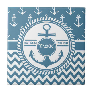 Nautical Wedding or Anniversary Anchor Chevron Ceramic Tile