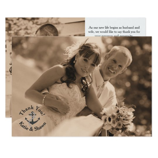 Nautical Wedding Photo Thank You Card