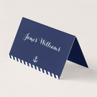 Nautical Wedding Place Cards With Stripes Folded
