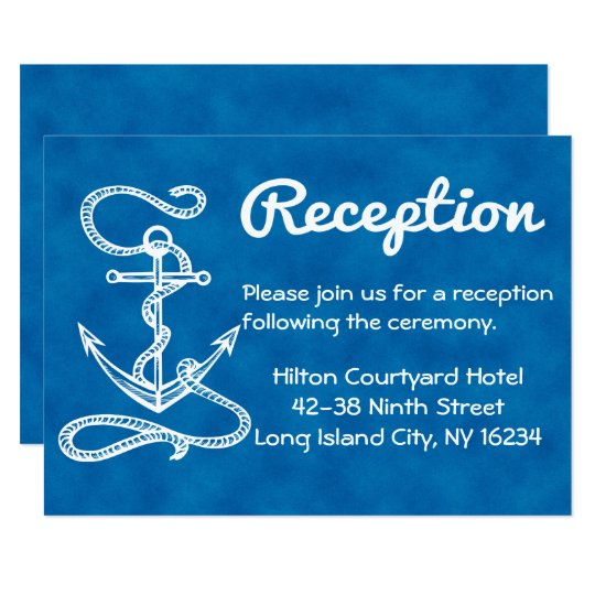 Nautical Wedding Reception Anchor Blue Watercolor Card
