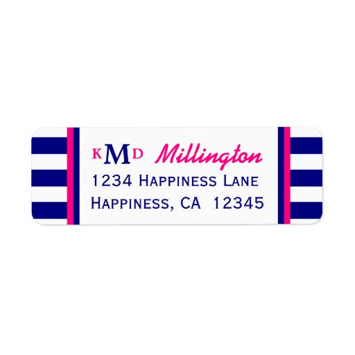 Nautical Wedding Return Address Label Navy Pink