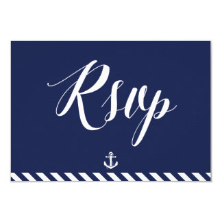 "Nautical Wedding RSVP Cards With White Stripes 3.5"" X 5"" Invitation Card"
