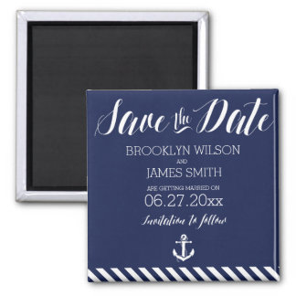 Nautical Wedding Save The Date Magnet With Stripes