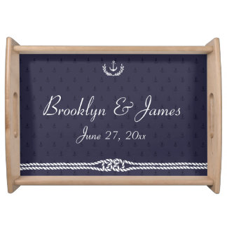 Nautical Wedding Serving Tray Blue Anchors Natural