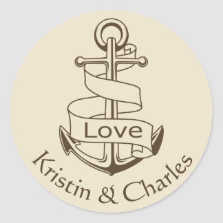 Nautical Wedding Ship Anchor Tan  Brown Love Classic Round Sticker