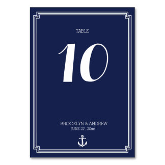 Nautical Wedding Table Numbers Navy Blue Frame