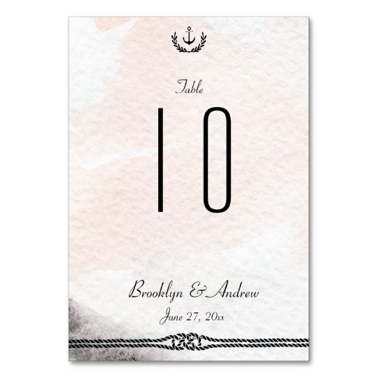 Nautical Wedding Table Numbers Watercolor Peach