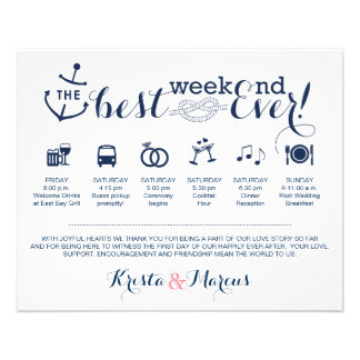 Nautical Wedding Weekend Itinerary Personalized Flyer