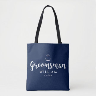 Nautical Wedding White Anchor Custom Groomsman Tote Bag