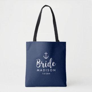 Nautical Wedding White Anchor Personalized Bride Tote Bag