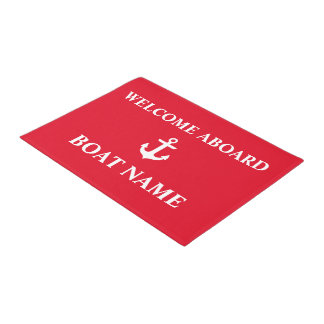 Nautical Welcome Aboard Anchor Red Doormat