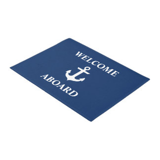 Nautical Welcome Aboard Navy Blue Doormat