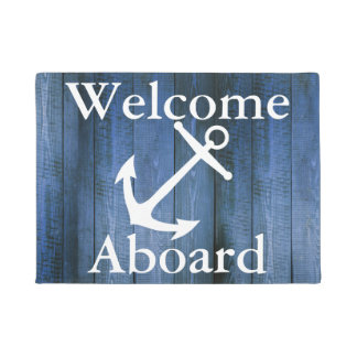 Nautical Welcome Aboard White Anchor Blue Wood Doormat