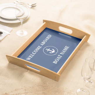Nautical Welcome Boat Name Anchor Rope Navy Blue Serving Tray