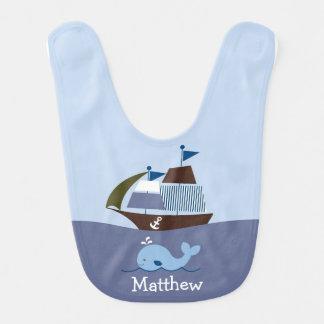 Nautical Whale Baby Bib
