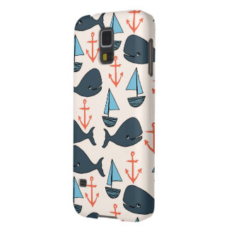 Nautical Whale Boat Anchor Blue / Andrea Lauren Case For Galaxy S5