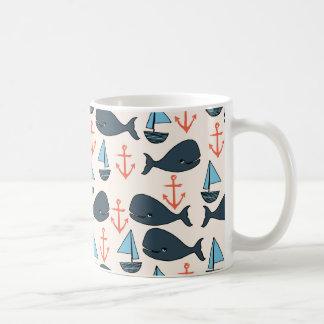 Nautical Whale Boat Anchor Blue / Andrea Lauren Coffee Mug
