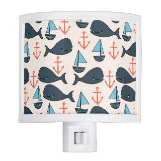 Nautical Whale Boat Anchor Blue / Andrea Lauren Nite Light