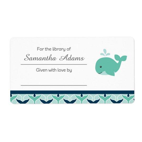 Nautical Whale Bookplate Label Sticker