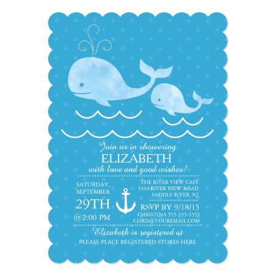 Nautical Whale Boys Baby Shower Invitation