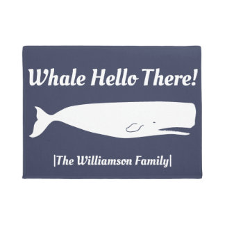 Nautical Whale Hello There Navy - Personalized Doormat