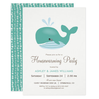 Nautical Whale Housewarming Party Invitation