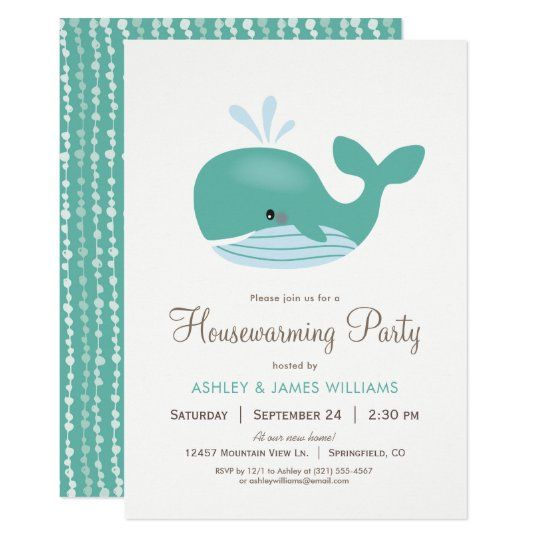 Nautical Whale Housewarming Party Invitation