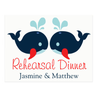 Nautical Whales Rehearsal  Dinner Navy Red Wedding Postcard