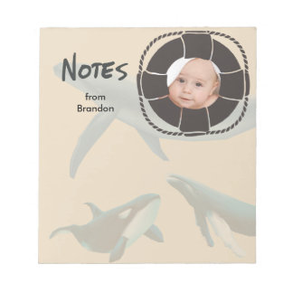 Nautical Whales with Lifesaver Photo Notepad