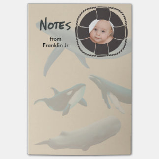 Nautical Whales with Lifesaver Photo Post-it® Notes