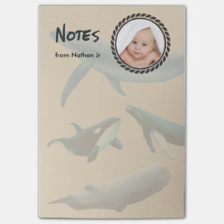 Nautical Whales with Photo Post-it Notes