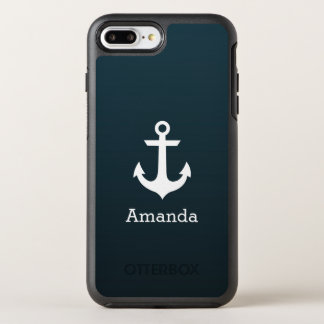 Nautical White Anchor Blue Ombre Name OtterBox Symmetry iPhone 7 Plus Case