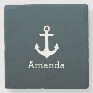Nautical White Anchor Blue Ombre Personalized Name Stone Beverage Coaster