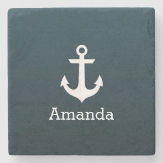 Nautical White Anchor Blue Ombre Personalized Name Stone Coaster