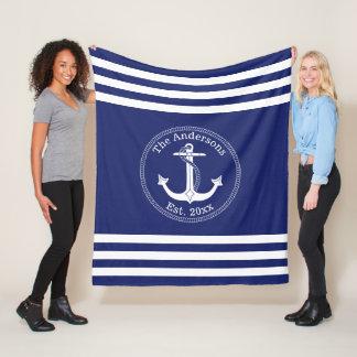 Nautical White Anchor Family Name Choose Color Fleece Blanket