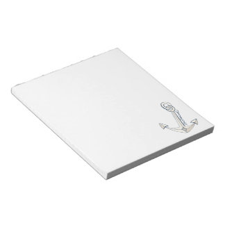 Nautical White Anchor Notepad