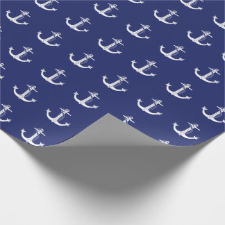 Nautical White Anchor Pattern Wrapping Paper