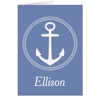 Nautical White Anchor With Rope on Blue Grey Card