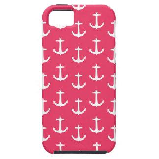 Nautical White Anchors against Fuchsia Pink iPhone 5 Case