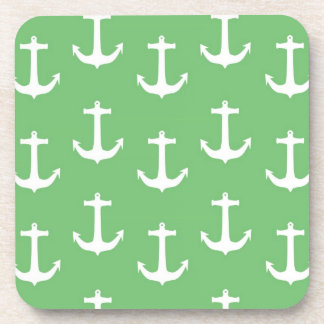 Nautical White Anchors against Lime Green Drink Coasters