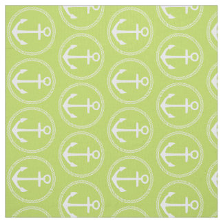 Nautical White Anchors and Rope on Palm Leaf Green Fabric