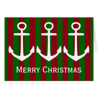 Nautical White Anchors on Red and Green Stripes Card