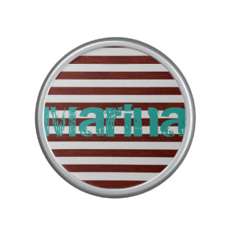 nautical white and wooden stripes with grunge name speaker